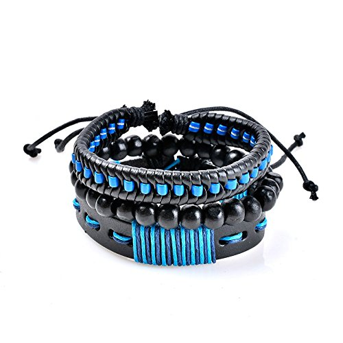 SODIAL Multilayer Armband Mann Casual Mode Geflochtene Lederarmbaender Fuer Frauen Holzperle Armband Punk Rock Maenner Schmuck blau+schwarz