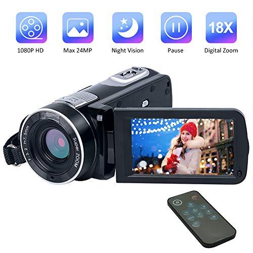 Videokamera Camcorder Full HD 1080P 24.0MP Video Camcorder Nachtsicht 18X Digitalzoom Mit Fernbedienung
