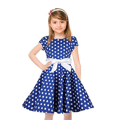 HBBMagic Kurzarm Rockabilly 50er Vintage Retro Kleid mädchen Baumwolle Kleid Polka Dots Faltenrock mit Halskette Zubehör Geschenke für Kinder (5-6 Jahre/114-122 cm, Blau/weiß dot)