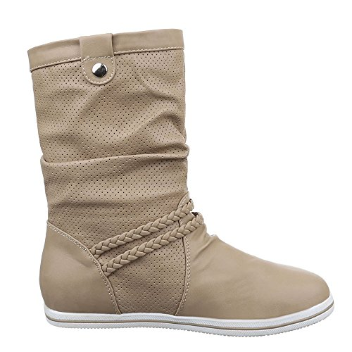 Damen Schuhe, 525, STIEFEL PERFORIERTE BOOTS Hellbraun