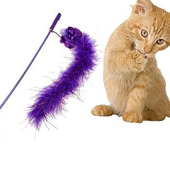 La Cabina Baguette Bâton Pet Chat Jouet Oiseau Plume Catcher Teaser Interactive Jouet (Violet)