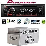 Audi A3 8P Aktiv - Autoradio Radio Pioneer DEH-S100UB - CD | MP3 | USB | Android Einbauzubehör - Einbauset