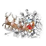 VORCOOL Stickers muraux de Noël Creative 3D Santa Claus Voiture Voiture Stickers muraux Amovibles pour Le décor de Bureau de Restaurant
