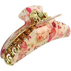 sourcingmap® Haarkralle Haarspange Rosa Rot Blumenmuster mit Feder Clip Beige für Damen