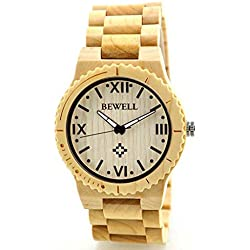 Jamicy Mens Fashion Wooden Quartz Wrist Watch and Box Set