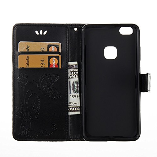 Solid Color Faux Leder Bookstyle Brieftasche Stand Case mit geprägten Blumen & Lanyard & Card Slots für Huawei P10 Lite ( Color : Coffee ) Black
