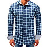 MRULIC Herren Oktoberfest Shirt Kariert Populär Sale Autumn Langarmshirts(B-Blau,EU-46/CN-L)