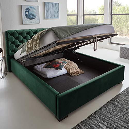 Designer Bett mit Bettkasten ELSA Samt-Stoff Polsterbett Lattenrost Doppelbett Stauraum Holzfuß schwarz (Smaragd, 140 x 200 cm)