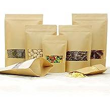 25/50PZ Piccolo sacchetto di carta marrone con finestra, Papier tuetchen kraftpapier con ripiano per la confezione di caffè, tè Lebensmittel e snack più Kraft Paper Stand Up Zipper Pouches Bags, 25 Stk, 18×26+4 cm