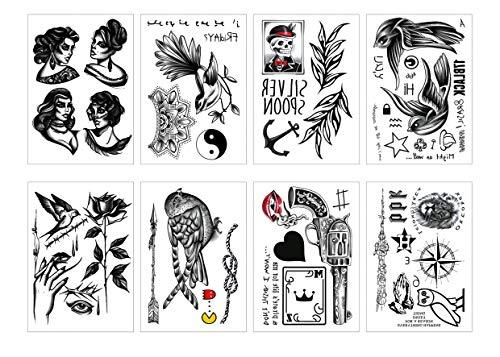 Spestyle 8pcs assorties de tatouages temporaires sur le thème des oiseaux pour femmes hommes