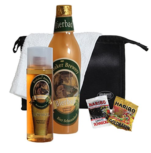 (BRUBAKER Bier Badeset Geschenkset für Männer mit Schaumbad, Duschgel, Kulturbeutel, Waschlappen plus Notration Zucker)