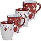 matches21 Becher Tassen Kaffeetassen Kaffeebecher Weihnachtsmotive Weihnachtsdekor rot / weiß 1 Stk. B-WARE Keramik je 10 cm / 300 ml