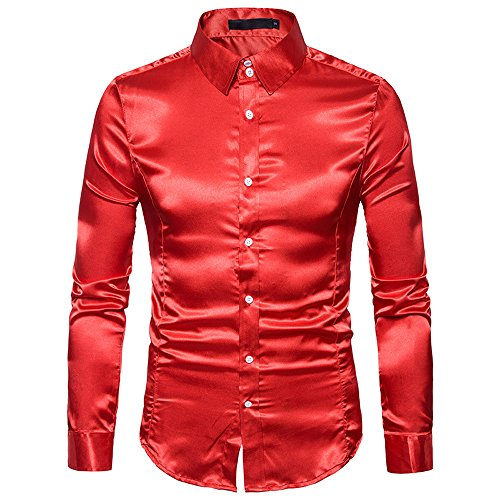 UJUNAOR Oktoberfest Männer Langarm T-Shirt Bling Shirt Top Slim Fit Mode Herren Bluse(Rot,CN L)