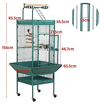 Yaheetech Bird Breeding Cage Metal African Grey Parrots Cockatiels Sun Parakeets Conure Lovebirds Budgies Finches Play Top Bird Cages with Perch Stand and Wheels (Green) by Yaheetech
