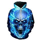 JOSENCL Blue Flame Skull Hoodies 3D-Sweatshirts Männer Frauen mit Kapuze Lose Trainingsanzug Herbst Winter Mantel Streetwear lustig Jacken Kapuzenpullover, WEIYI -202,4 XL