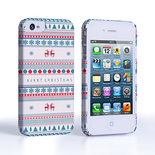 Caseflex iPhone 4 / 4S Case Merry Christmas Reindeer Snowflake Pattern Hard Cover