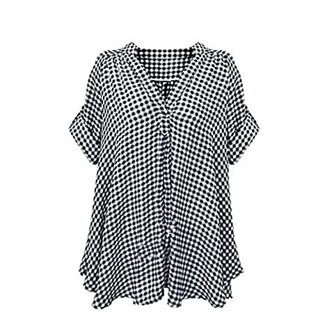 Etosell Femmes Manches Courtes Occasionnel Plaid Chemisier Plus Size T-Shirt