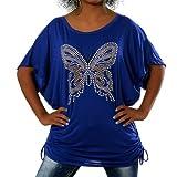 Diva-Jeans G411 Damen Longshirt Shirt Tunika Bluse Schmetterling T-Shirt Tank Top Minikleid, Farben:Blau, Größen:Einheitsgröße