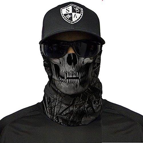 SA Fishing Company Face Shield Sturmhaube *viele verschiedene Designs* Multiunktionstuch Maske Fishing Totenkopf Schal Skull Bandana Gesichtsmaske Halstuch Ski Motorrad Paintball Halloween Maske (Blackout Forest Camo Skull)