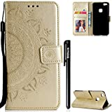 Huawei P10 Lite Hülle,BtDuck Hülle Mandala Blume Mädchen Brieftasche Slim Hülle Leder Magnet Flip Case Weich Silikon Back Case Schutzhülle Handyhülle für Huawei P10 Lite Leder Gold