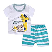 Webla Toddler Baby Boys Girls Cartoon Giraffe T-Shirt+Striped Short Pants Home Pajama Clothes Set for 1-3 Years (2-3T)