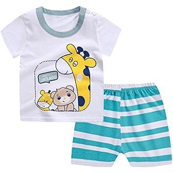 6e01b6dfa2ea Webla Toddler Baby Boys Girls Cartoon Giraffe T-Shirt+Striped Short Pants  Home Pajama Clothes Set for 1-3 Years