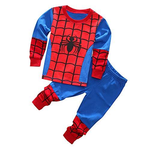DELLOS Pyjamas Set Kinderbekleidung Sets Jungen Nachtwäsche Kleidung Kinder Baby Mädchen Baumwolle Cartoon Pijamas,Spiderman-95cm