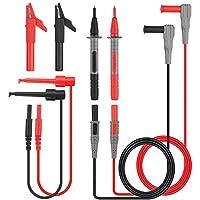 Cables de prueba, Tacklife METL04 cables de multímetro 8 piezas Juego de accesorios, incluye Sonda de cable de extensión Mini gancho de pinzas de cocodrilo