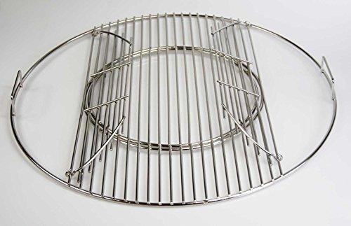 Edelstahl Grillrost 44,5 cm 54,5 cm Expert klappbar mit Griffen + Ø 29 cm herausnehmbaren runden Grillrost passend für WEBER Kugelgrill 47 57 Grill Gasgrill Hersteller Herstellung (Ø 54,5 cm für 57er Kugelgrill)
