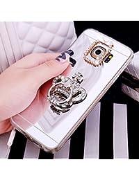 KunyFond Funda Compatible Samsung Galaxy S7,Carcasa Corona Espejo Mirror Anillo Soporte Movil TPU Purpurina