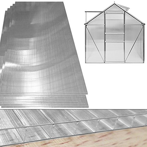 10,25 m² Hohlkammerstegplatten Doppelstegplatten, 60,5 x 121cm, Stärke 4mm - für Gewächshäuser und Gartenhäuser