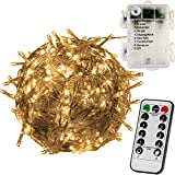 VOLTRONIC 100 LED Lichterkette, BATTERIEBETRIEBEN, mit Timer, 8 Programme, optional mit Fernbedienung, für innen und außen, Farbwahl: warmweiß/kaltweiß / bunt, IP44, 8 Leuchtmodi, Outdoor