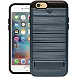 Cubix Hidden Card Slot Case For IPhone 6 IPhone 6s Armor Cover Brushed Slim Hybrid Back Cover Kickstand (Tangaroa Blue) For Apple IPhone 6 Apple IPhone 6s