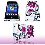 Design Lila Flower No.1 - Silikon TPU Handy Hülle Cover Case Schale - plus Displayschutzfolie für Sony Ericsson Xperia Ray