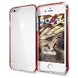 NALIA Handyhülle für iPhone 6 6S, Durchsichtiges Slim Silikon Case mit Transparenter Rückseite & Bumper, Crystal Schutz-Hülle Etui Dünn, Handy-Tasche Back-Cover für Apple iPhone-6, Farbe:Rot