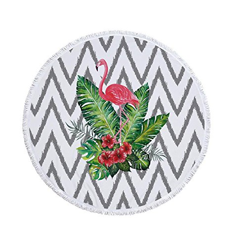JUMP Leichte Badetuch Print Hängenden Ball Quaste Runden Badetuch Yoga Matte Flamingos Bunten Strand Decke Schal,Green