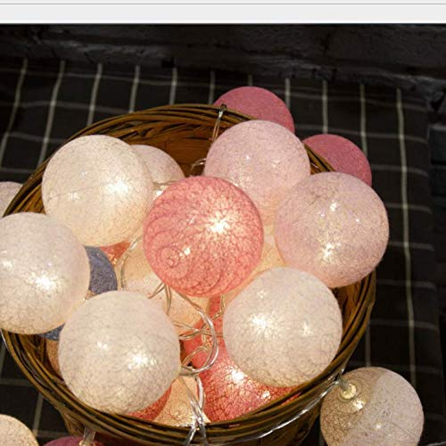 Hot Wattebausch LED-Lichterkette hohle Baumwolle Linie Indoor Kinder Mädchen Raumdekoration 6 Meter 40 Licht Pulver weiß -