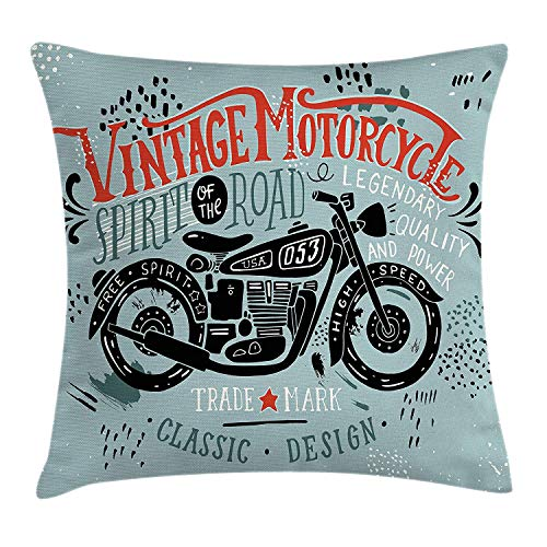 Motorcycle Throw Pillow Cushion Cover, Biker Theme Hand Drawn Vehicle with Spirit of The Road Quote, Decorative Square Accent Pillow Case, 20 X 20 inches, Vermilion Black and Slate Blue - Knit Black Slate