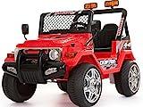 Elektroauto für Kinder, Zweisitzer, 12V, Batteriebetrieb, Jeep im Wrangler-Stil,rot