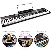 RockJam 88-Key Beginner Digital Piano/Keyboard with Full-Size Semi-Weighted Keys, Power Supply and Built-In Speakers