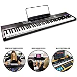 RockJam 88-Key Beginner Digital Piano Piano Keyboard con Full-Size semi-pesata Keys, Leggio, adesivo Piano nota, alimentazione e speaker incorporati