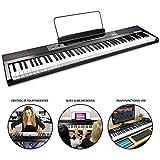 RockJam RJ88DP - Teclado de piano digital para principiantes de 88 teclas de tamaño medio y fuente de alimentación, color Negro