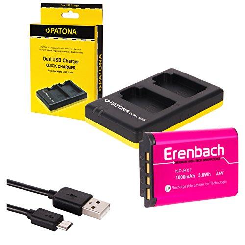 2in1-SET für den Sony HDR-PJ410 Full HD Camcorder --- ERENBACH Markenakku für Sony NP-BX1 (starke 1000mAh) + Dual Ladegerät (laden Sie 2 Akkus via USB-Anschluss auf einmal)