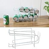 Rosepoem Stapelbares Dosenregal mit 2 Reihen Kann Dispenser Rack Stapelbare Dosenregal für Kühlschrank, Speisekammer, Schrank - Weiß - 34,5 * 18,5 * 14,5 cm