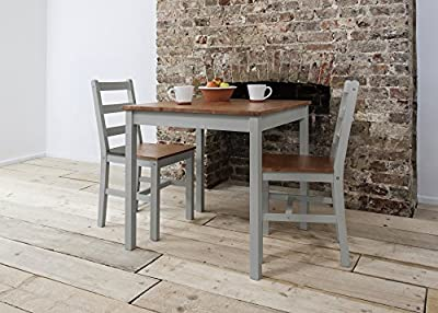 Annika Dining Table and 2 Chairs Bistro Set in Silk Grey and Natural Pine - inexpensive UK light store.