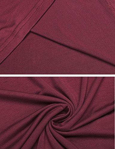 Acevog Damen Sommer Figurbetont Rundhals Pullover T-Shirt Kurzärmel mit Hohlem Blumenspitze-Patchwork Weinrot