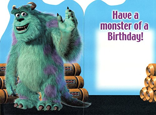 Image of Monsters Inc Sulley shaped birthday card