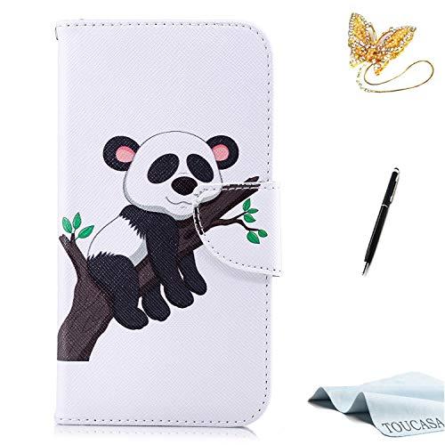 TOUCASA iPhone XS Handyhülle,iPhone XS Hülle, Brieftasche Flip PU Leder etui Tasche 360 Grad Karte Halterung Kartenfächer extra Dünn Klapphülle Leinwand Farbmalerei Art fürApple iPhone XS(Panda)