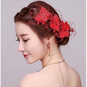 CYY Braut Kopfschmuck rote Kopf Blume Platte Haarschmuck Spitze Perle Fliege Hochzeit Clip
