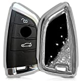 kwmobile Funda para Llave Llave Smart Key de 3 Botones para Coche BMW - Carcasa Protectora [Suave] de [Silicona] - Case para Mando con diseño de Purpurina y Estrellas